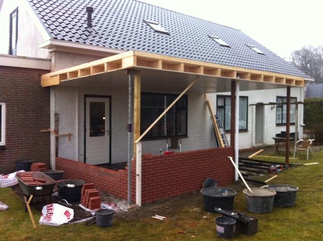 Aanbouw overdekt terras hoofdweg bellingwolde april 2013 aannemingsbedrijf pijper winschoten for Overdekt terras